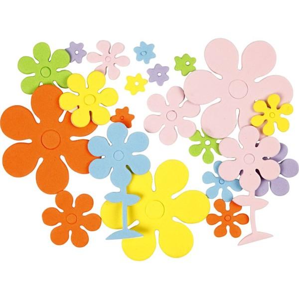 Lot de fleurs en papier mousse EVA - Couleurs assorties - 10 à 60 mm - 100 pcs - Photo n°1
