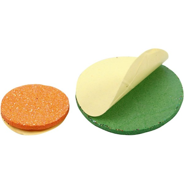 Lot de cercles en papier mousse EVA - Couleurs assorties pailletées - 12, 20 et 32 mm - 1000 pcs - Photo n°2