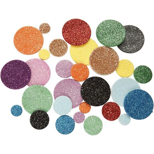 Lot de cercles en papier mousse EVA - Couleurs assorties pailletées - 12, 20 et 32 mm - 1000 pcs - Photo n°1