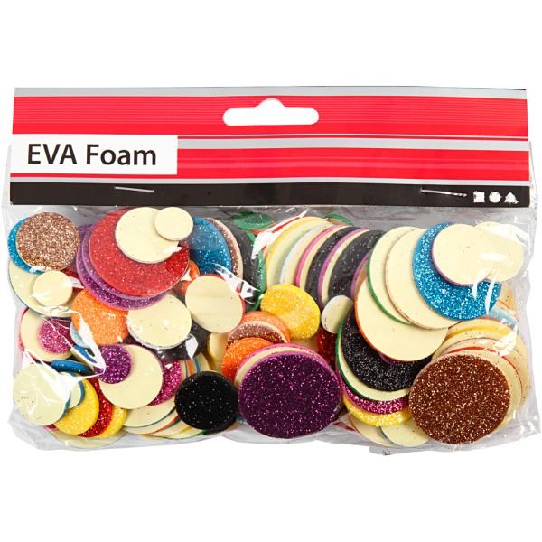 Lot de cercles en papier mousse EVA - Couleurs assorties pailletées - 12, 20 et 32 mm - 150 pcs - Photo n°2