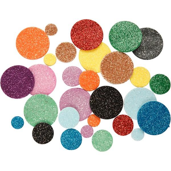 Lot de cercles en papier mousse EVA adhésive - Pailletés - 3 tailles - 150 pcs - Photo n°1