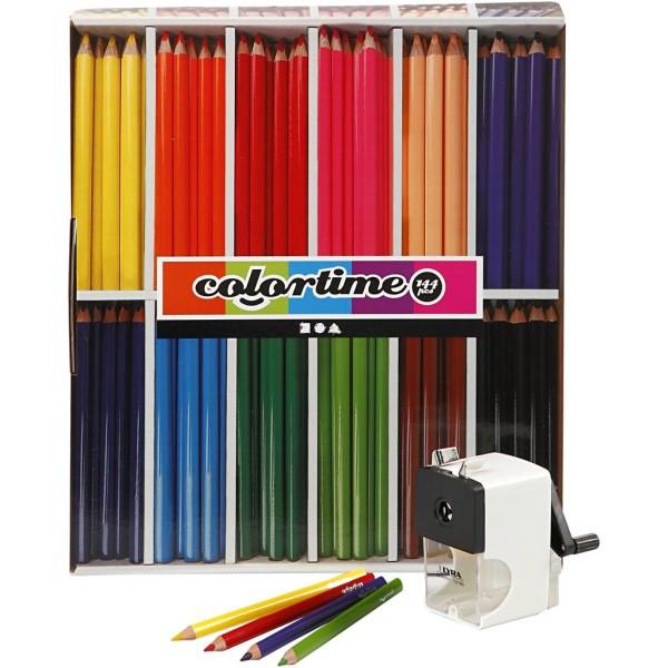 Lot de crayons coloriage - 12 couleurs - 12 lots de 12 crayons + 1 taille crayon - Photo n°1