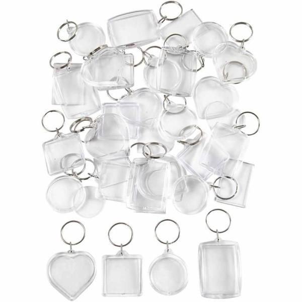 Porte-clés en plastique avec fenêtre - 4 designs - 40 x 50 mm - 20 pcs - Photo n°1