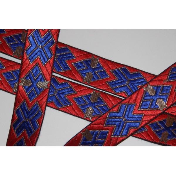 Galon ethnique de 30 mm de large, ruban indien rouge - Photo n°2