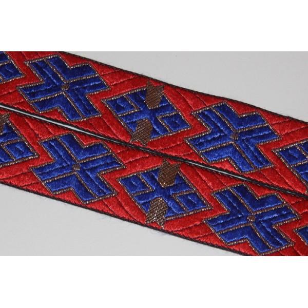 Galon ethnique de 30 mm de large, ruban indien rouge - Photo n°1