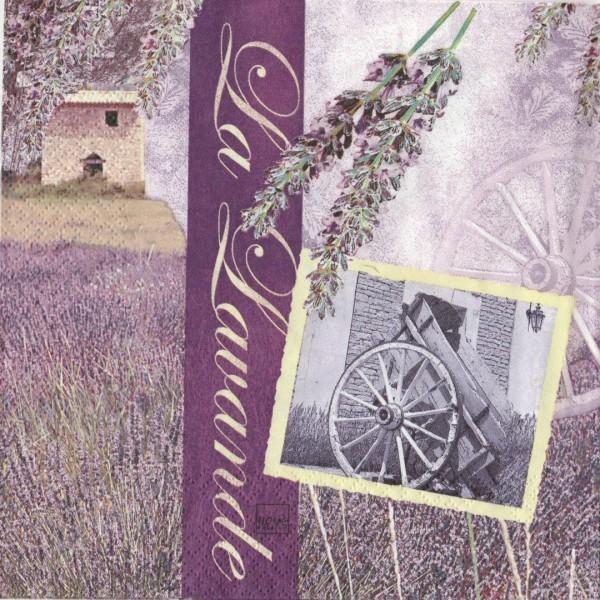4 Serviettes en papier Paysage Champ de lavande Provence Format Cocktail - Photo n°1