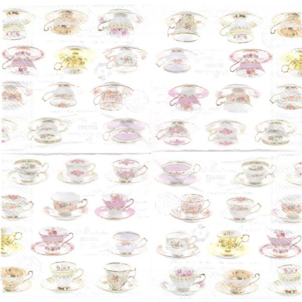 Paquet de 20 Serviettes en papier Tasses à thé Format Lunch - Photo n°2