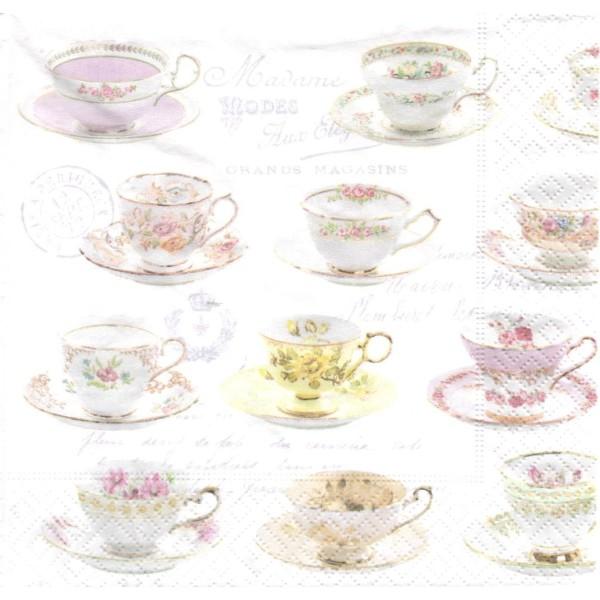 Paquet de 20 Serviettes en papier Tasses à thé Format Lunch - Photo n°1
