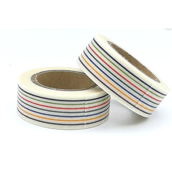Masking tape rayures multicolores 15mm x 10m - Photo n°1
