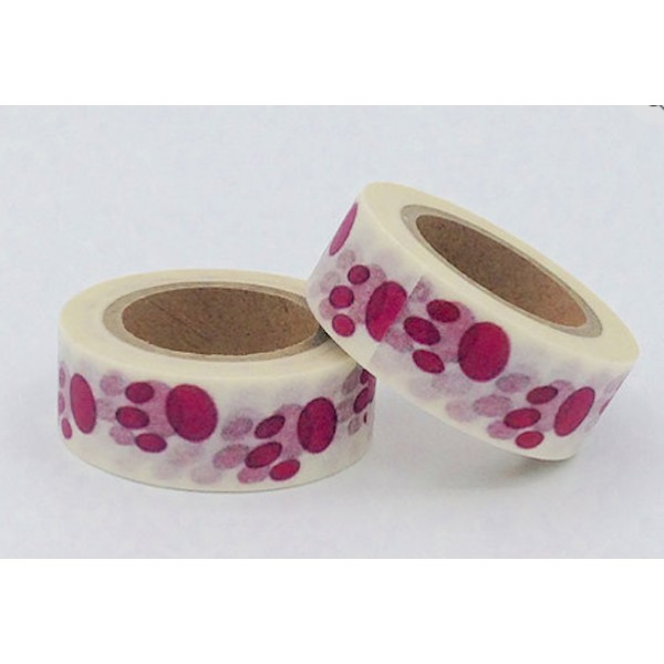 Masking tape pattes d'ours roses 15mm x 10m - Photo n°1