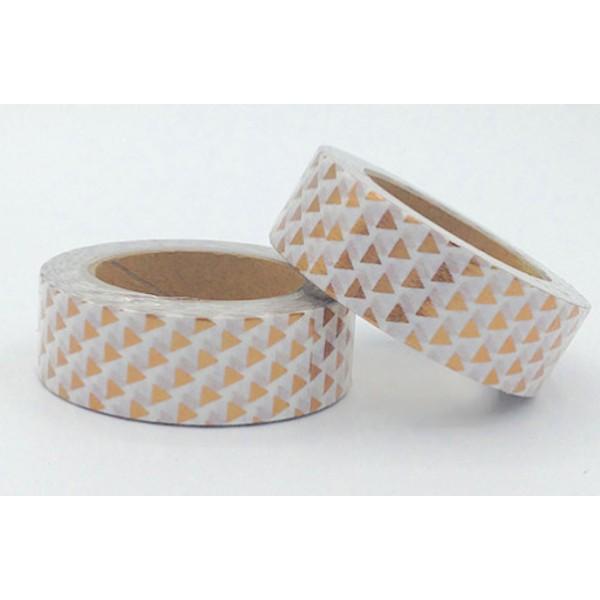 Masking tape foil blanc triangles cuivre 15mm x 10m - Photo n°1