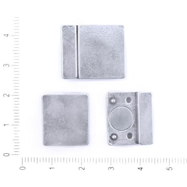 1pc Argent Antique de Couleur Platine Plaqué Plates en Cuir Cordon de Ruban Fin Rectangle Fermoir Ma - Photo n°1