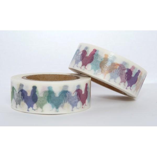 Masking tape coq Français poule coloré 15mm x 10m - Photo n°1