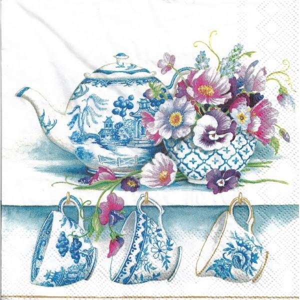 4 Serviettes en papier Service à thé pocelaine Format Lunch - Photo n°1