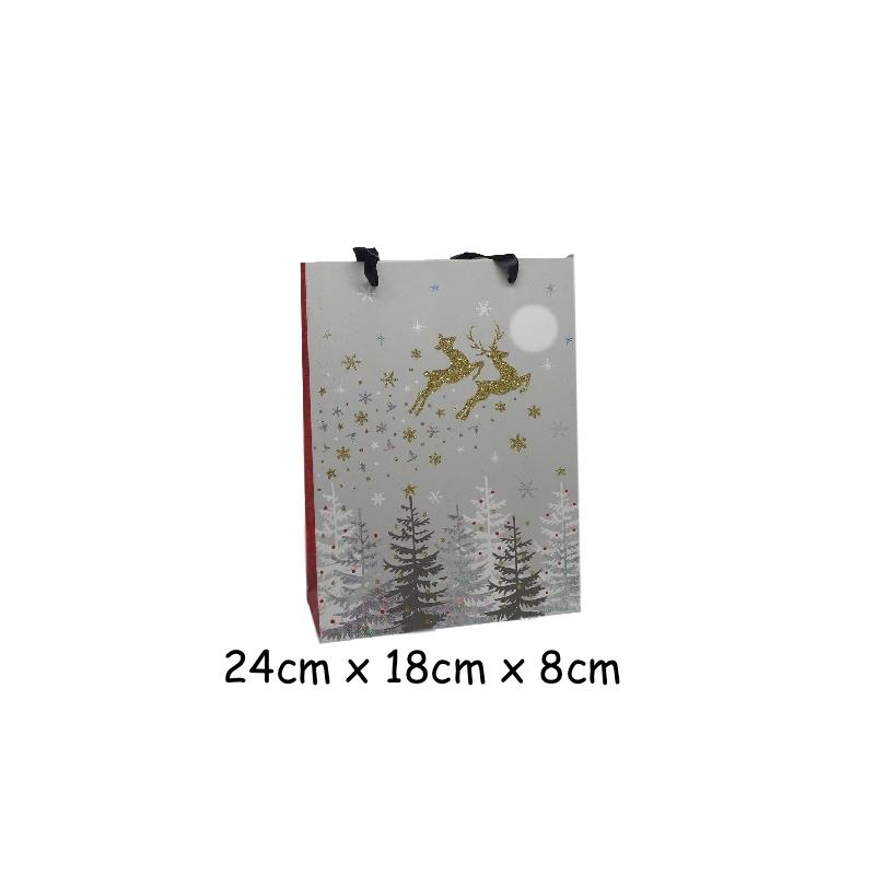 pochette cadeau papier cartonn glac motif no l renne traineau dor noir gris et blanc. Black Bedroom Furniture Sets. Home Design Ideas