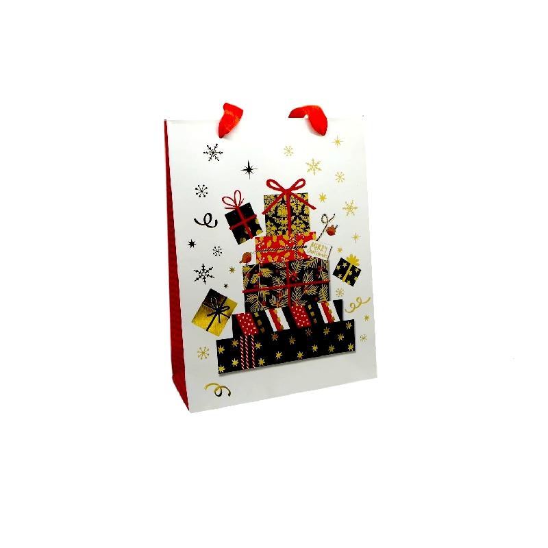 pochette cadeau papier cartonn glac motif cadeaux de no l dor noir rouge et blanc. Black Bedroom Furniture Sets. Home Design Ideas