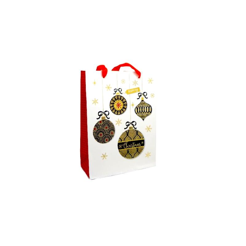 pochette cadeau papier cartonn glac motif boule de no l dor noir rouge et blanc emballage. Black Bedroom Furniture Sets. Home Design Ideas