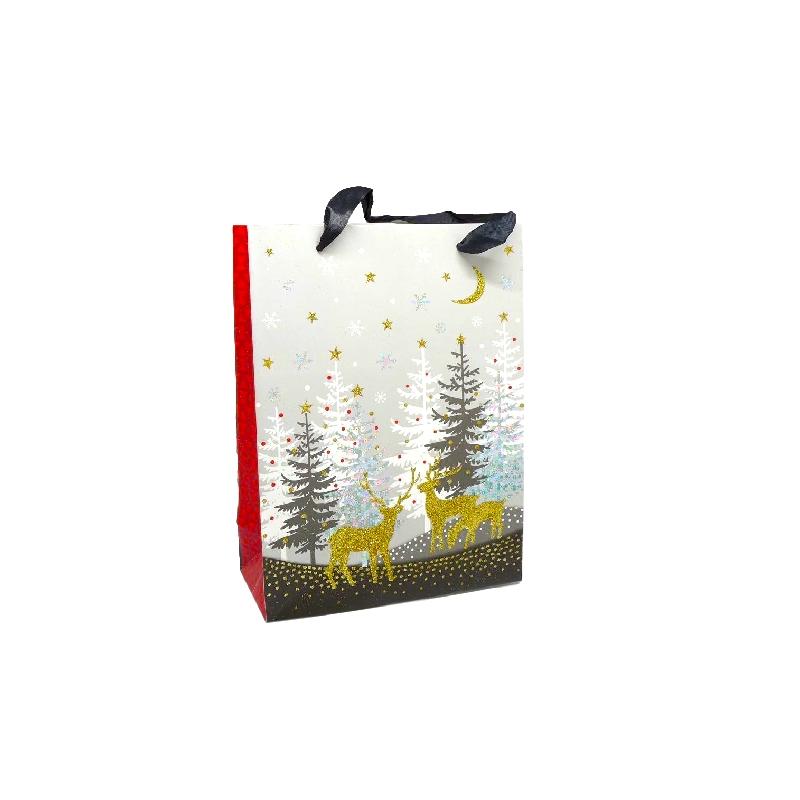pochette cadeau papier cartonn glac motif sapin de no l et rennes dor noir rouge et blanc. Black Bedroom Furniture Sets. Home Design Ideas