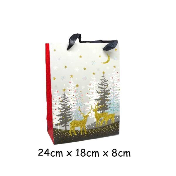 Pochette Cadeau Papier Cartonné Glacé Motif Sapin De Noël Et Rennes Doré Noir Rouge Et Blanc