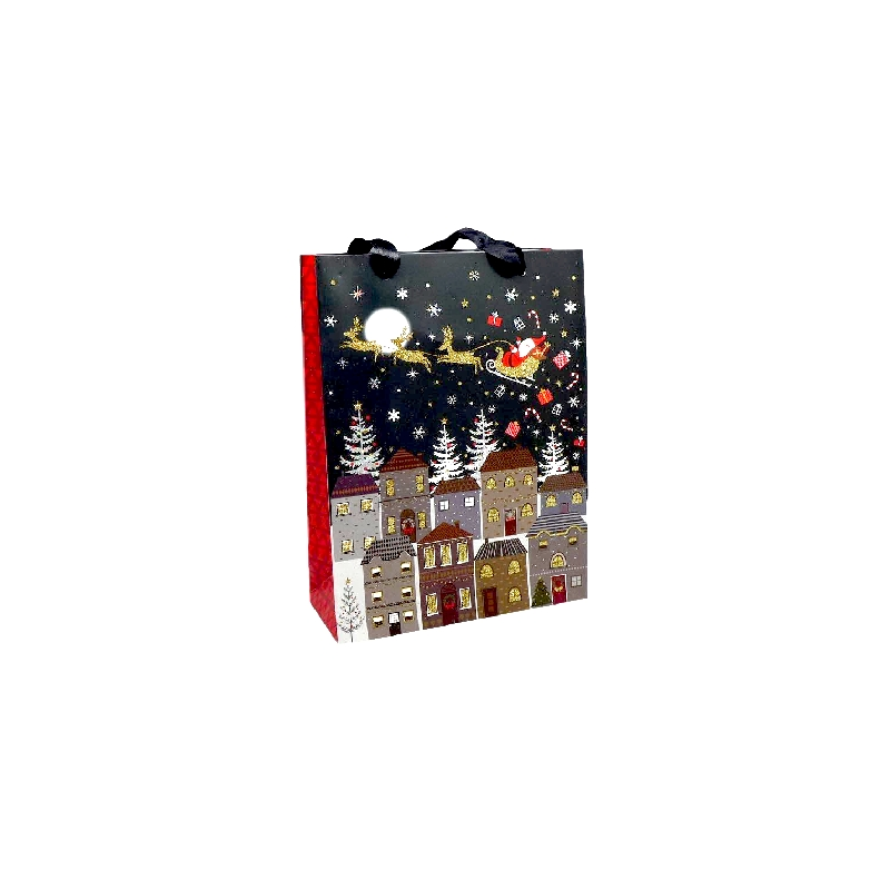 pochette cadeau papier cartonn glac motif ville de nuit et p re no l dans son traineau dor. Black Bedroom Furniture Sets. Home Design Ideas