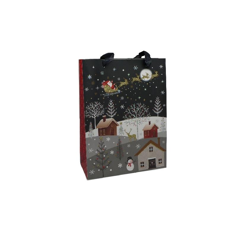 pochette cadeau papier cartonn glac motif village de nuit enneig et p re no l dans son train. Black Bedroom Furniture Sets. Home Design Ideas