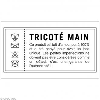 Tampon bois rétro Tricoté main - 5,5 x 2,5 cm