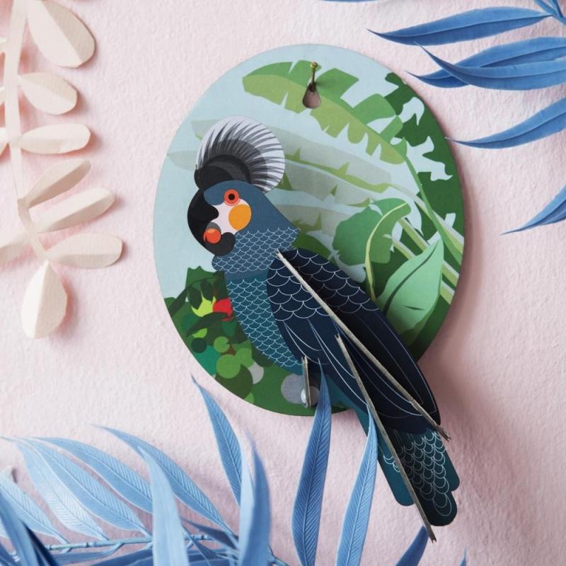 oiseau exotique perroquet d coration murale 3d studioroof kit maquettes bois et cartons creavea. Black Bedroom Furniture Sets. Home Design Ideas