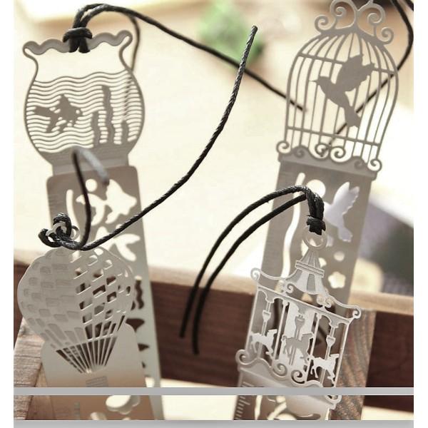 Marque-pages, règle, signet cage à oiseau en métal - Photo n°3