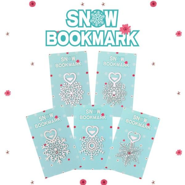 5 Packs de marque pages flocon de neige, signet Noël en métal argenté - Photo n°2