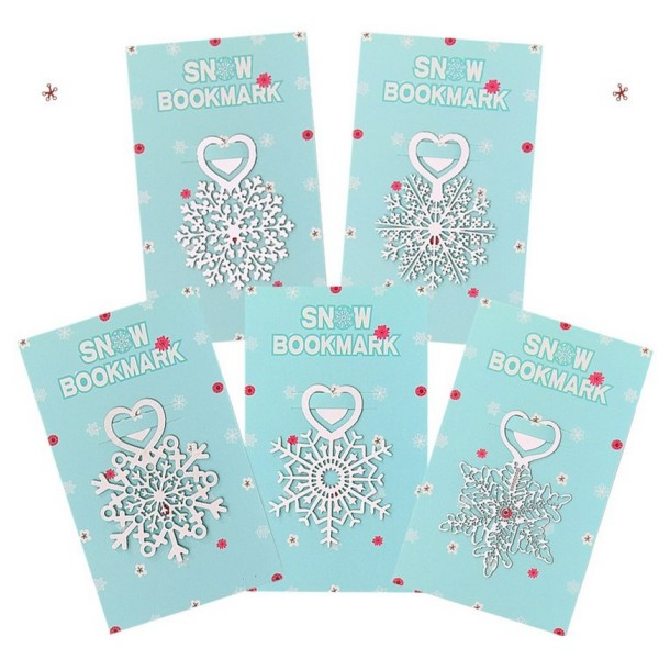 5 Packs de marque pages flocon de neige, signet Noël en métal argenté - Photo n°1