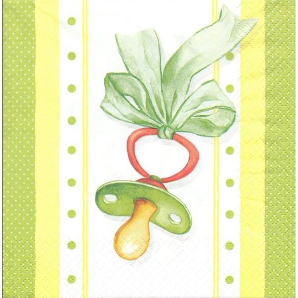 4 Serviettes en papier Naissance Bébé Tétine Format Lunch Decoupage Decopatch 211379 Home Fashion - Photo n°1