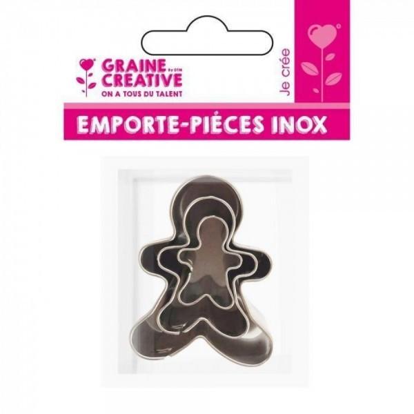 Lot de 3 emporte-pièces en Inox Pains d' épices Graine Créative 265059 - Photo n°1