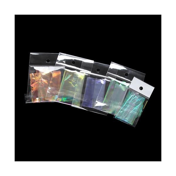 S11116365 PAX 10 feuilles de Cellophane Irisé Insertion pour bijoux résine ( 5 couleurs ) - Photo n°1