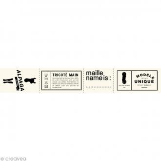 Assortiment de labels en tissu 3 cm - Textes français - 36 étiquettes