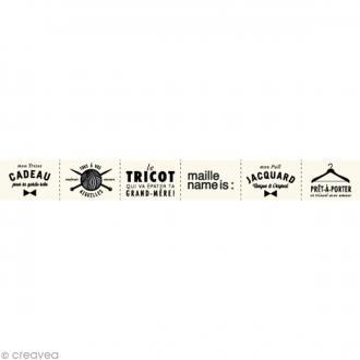 Assortiment de labels en tissu 2 cm - Textes français - 66 étiquettes