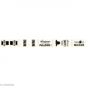 Assortiment de labels en tissu 1,5 cm - Textes français - 55 étiquettes