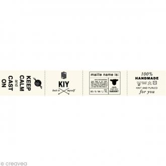 Assortiment de labels en tissu 3 cm - Textes anglais - 36 étiquettes