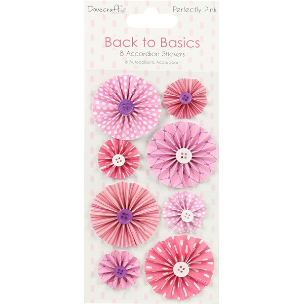 Maxi lot 8 fleurs accordéon bouton rose mauve violet perfectly pink - Photo n°1