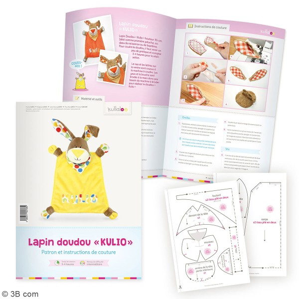 Kit Couture doudou plat - Kulio le Lapin rose - 35 cm - Photo n°4