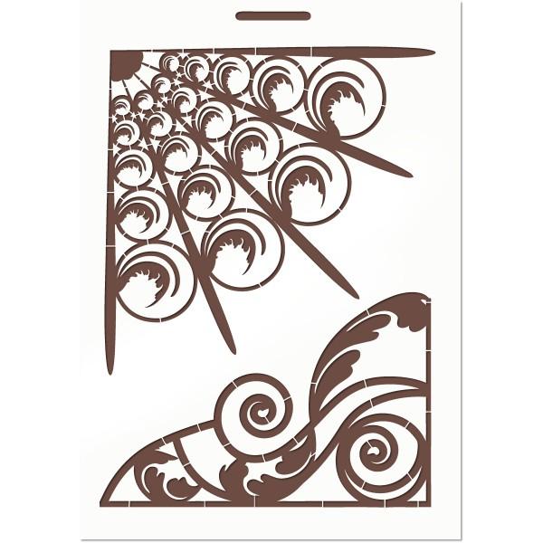 POCHOIR EN PLASTIQUE MYLAR  Format A4 (21*29.7cm) Art Deco - Photo n°1