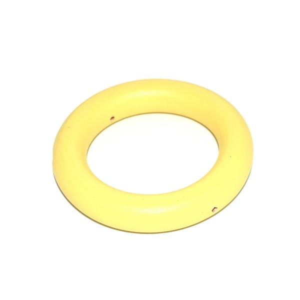 Anneau de dentition rond en bois 70 mm jaune (2 trous) - Photo n°1