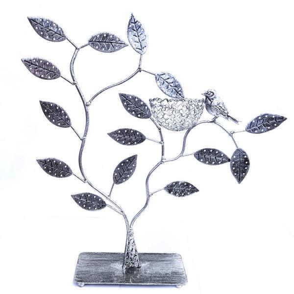 Porte bijoux arbre à boucle d'oreille piou piou (60 paires) Gris patiné - Photo n°1