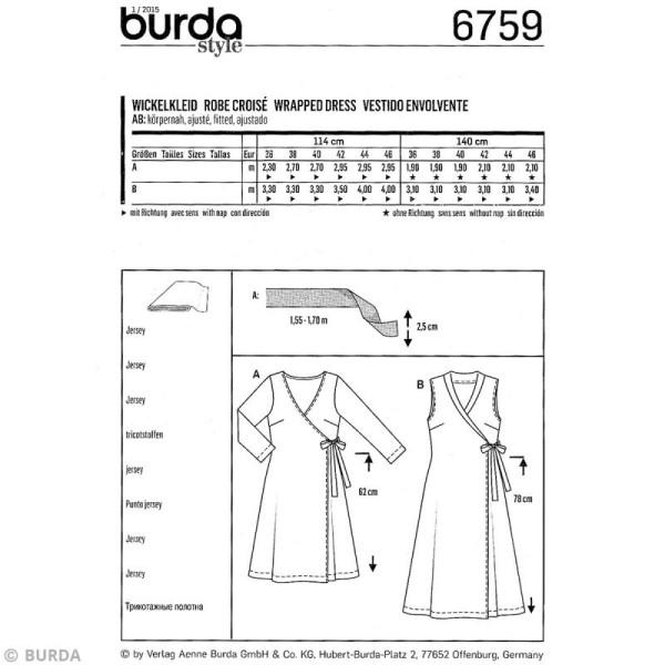 Patron Burda - Femme - Robe cache-coeur - 6759 - Photo n°4