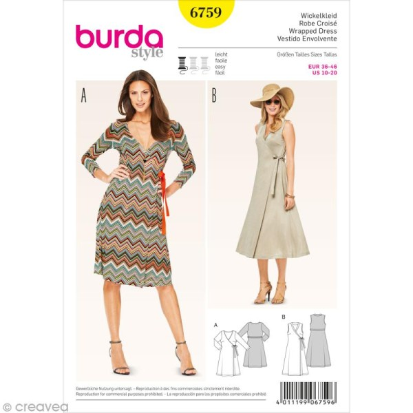Patron Burda - Femme - Robe cache-coeur - 6759 - Photo n°1