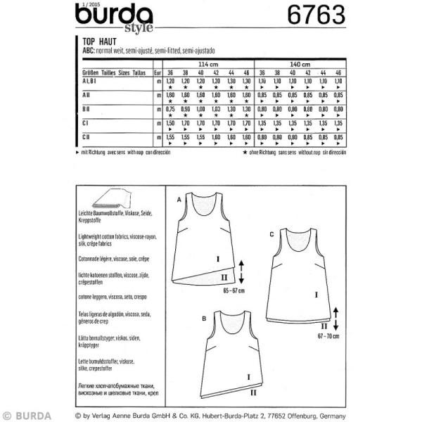 Patron Burda - Femme - Débardeur asymétrique - 6763 - Photo n°4