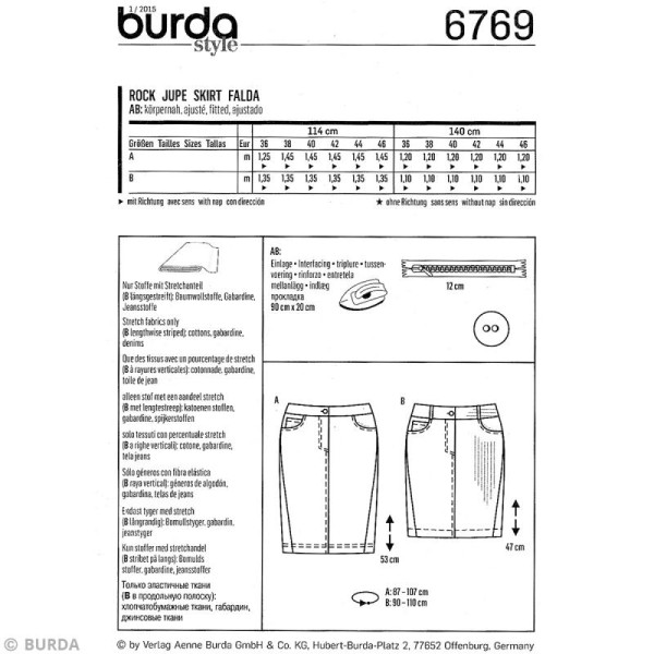 Patron Burda - Femme - Jupe jeans - 6769 - Photo n°4