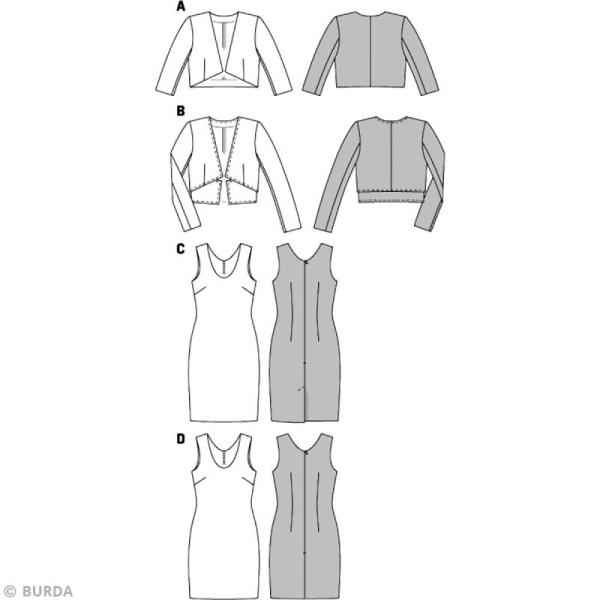 Patron Burda - Femme - Robe et veste courte - 6773 - Photo n°3