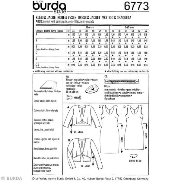 Patron Burda - Femme - Robe et veste courte - 6773 - Photo n°4