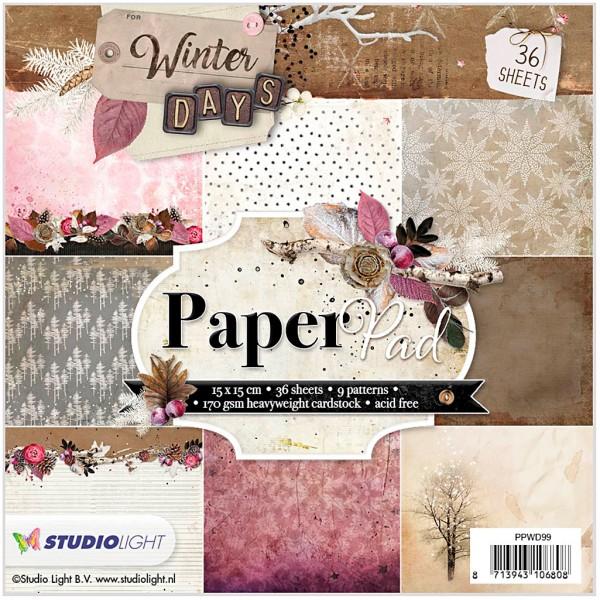 Assortiment papier scrapbooking 15 x 15 cm - Hiver rose - 36 feuilles - Photo n°1