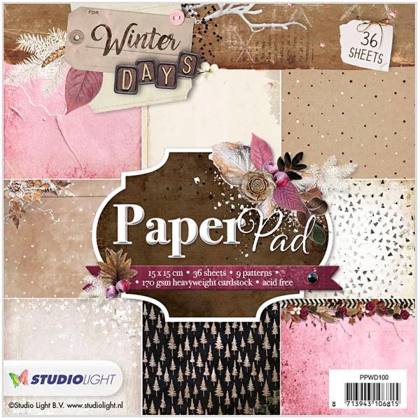 Assortiment papier scrapbooking 15 x 15 cm - Hiver poudré - 36 feuilles - Photo n°1